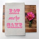 EAT CAKE Linen Tea Towel in Oatmeal
