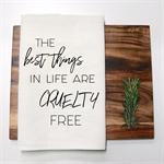 CRUELTY FREE Linen Tea Towel in Off White