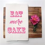 EAT CAKE Linen Tea Towel in Off-White