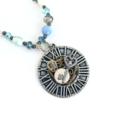 Steampunk Clock Pendant on Long Pearl, Semi Precious and Crystal Necklace