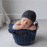 Grey Woven Beanie with Wooden Button / Hat /  Newborn / Photography Prop