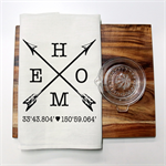 Personalised HOME Linen Tea Towel in Off White