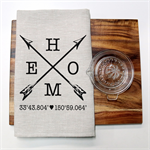 Personalised HOME Linen Tea Towel in Oatmeal