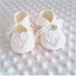 Pure wool hand stitched baby shoes / booties - lace hearts