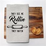 ROLLIN Linen Tea Towel in Oatmeal