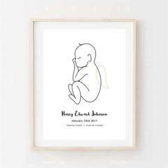 Printable Memorial Art. Sleeping baby with angel wings... Memorial Print