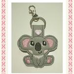 1 x Koala Key Ring, Key Fob, Bag Tag, Tag, Grey Vinyl