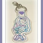 1 x Mermaid Key Ring, Key Fob, Bag Tag, Tag, White Vinyl, Variegated Thread