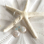 Aquamarine Coin Pearl Earrings
