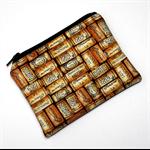 Small Coin Purse in Wine Cork theme fabric