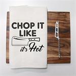 CHOP IT LIKE IT'S HOT Linen Tea Towel in Off White