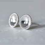 Beaded Edge Concave Sterling Silver Studs 8mm size.
