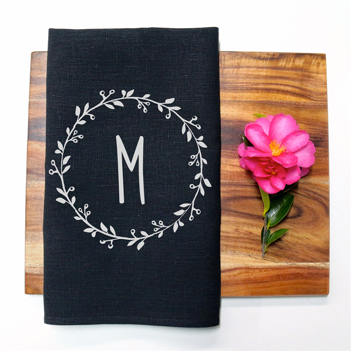 Personalised Monogram Linen Tea Towel In Black
