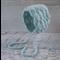 Vintage Duck Egg Blue Hand Crocheted Newborn Baby Shell Bonnet Photo Prop