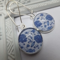 Royal Blue China Glass Print 16mm Print Glass Earrings hung from silver plated n