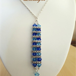 Collar Necklace - Rectangle Pendant - Sapphire, Aqua - Crystals - N033