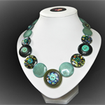 Beaut Buttons - Opal Greens button necklace