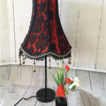 Unique black lace, flame red and black beaded trimmed vintage style lampshade.