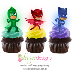 PJ Masks Edible Wafer Stand-Up Cupcake Toppers - Set of 16 - WC037