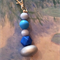 Silver and blue silicone and wooden Bead key ring, key clas, lanyard clip.