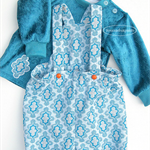 Romper and Sweater top set, Baby Girl 6-12 months, Overall blue white, damask
