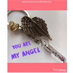 YOU ARE MY ANGEL- Angel wings  & Heart keyring