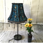 Beautiful teal blue lampshade with black lace overlay and black beaded trim.
