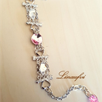 Lightweight Bracelet - Rose,Clear - Swarovski - Steel Color - Adjustable - BR034