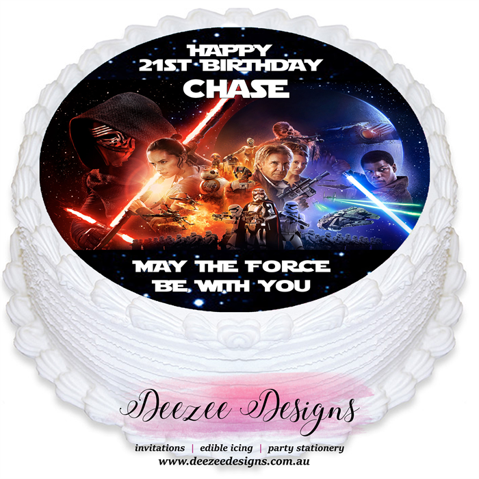 Star Wars Round Edible Cake Topper Pre Cut Deezee Designs