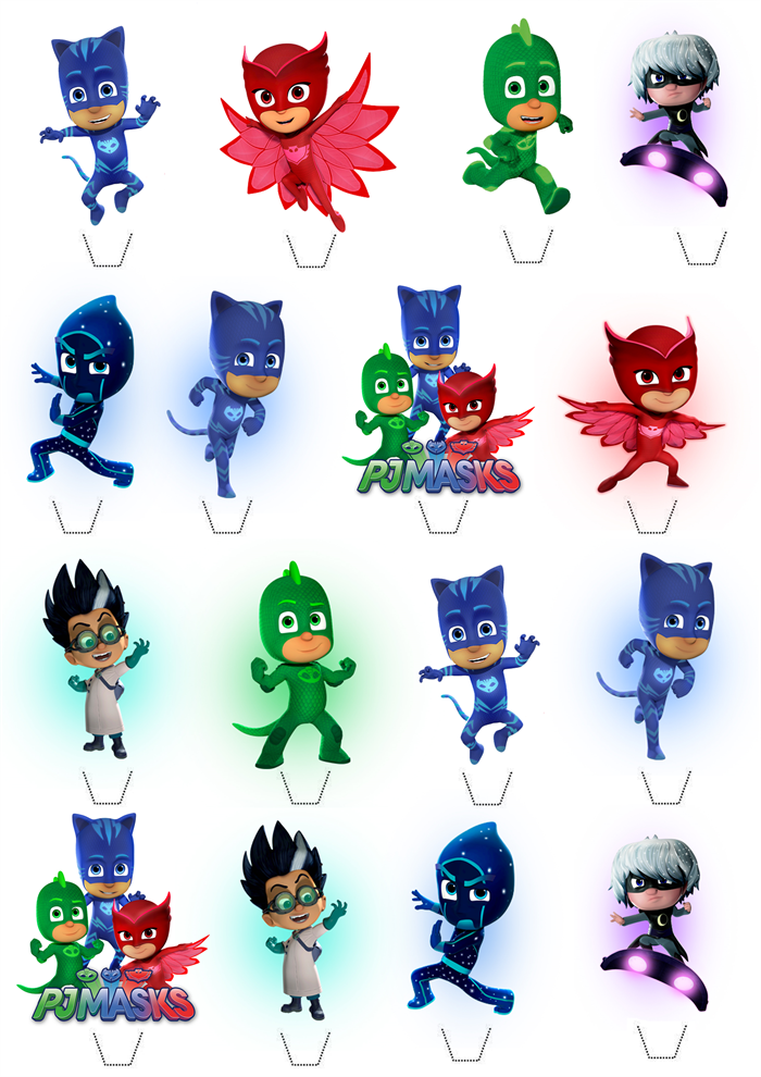 PJ Masks Edible Wafer Stand-Up Cupcake Toppers - Set of 16 ...