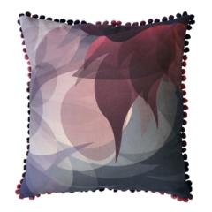 Deep Red Botanical Print Throw Pillow – pom pom trim flower print winter blossom