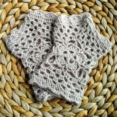 Crochet Stone Beige Spring Granny Posy Handwarmers