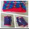 Crochet Rainbow Fingerless Mitts Handwarmers with Red Trim