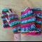 Crochet Pink Green Orange Blue White Striped Fingerless Mitts Handwarmers