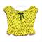 Yellow polka dot top, chartreuse yellow, peasant blouse, boho girl size 2-3t