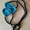 Crochet Black Denim Blue Cotton Triple Heart Headband Fascinator