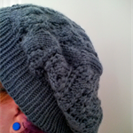 Knit Winter Autumn Grey Owl in the Bush Lace Slouch Hat