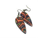 Vintage English Fabric Teardrop Earrings  - FREE POSTAGE