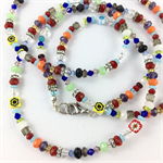 Millefiori, crystal and glass beaded slim long necklace