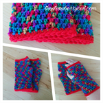 Crochet Rainbow Fingerless Mitts Handwarmers with Red Trim