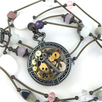 Steampunk Inspired Clock Pendant with crystals and pearls on long necklace