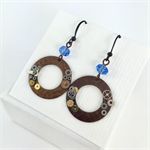 Steampunk Disk Earrings with blue crystals and bronze metal earring hooks