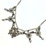 Steampunk Butterflies with Freshwater Pearls Necklace