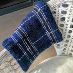 Knit Midnight Blue Tartan Thick Alpaca Cowl Infinity Scarf
