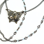 Steampunk Butterfly Pendant on Long Bronze Chain with Aquamarine Chips