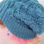 Knit Winter Autumn Teal Green Blue Entwined Hearts Lace Slouch Hat