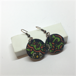 Vintage English Fabric Earrings 2cm - FREE POSTAGE
