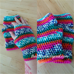 Crochet Pink Green Orange Blue White Striped Fingerless Mitts Handwarmers