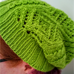 Knit Winter Autumn Leafy Green Diamond Lace Slouch Hat