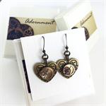 Steampunk Heart Earrings with Bronze Metal Earring Hooks